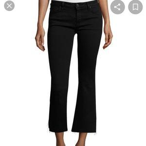 HudsonMia Mid-Rise Cropped Flare-Leg Jeans, Black